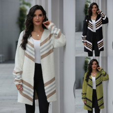 Stripe long slim knit cardigan sweater coat