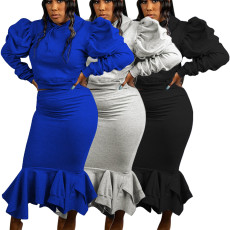 Fashion Solid Color Bubble Sleeve long skirt two piece set