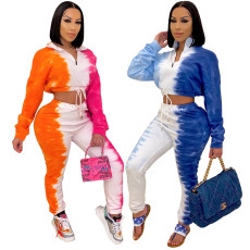 Long sleeve two piece set with patchwork printing