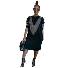 Hot diamond fashion casual round neck A-line skirt