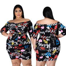 Graffiti print zipper dress