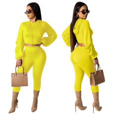 Fashion casual hooded sports suit