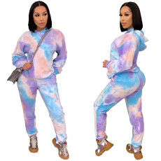 Two piece set of tie dye printing on thickened fabric