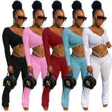Sexy hip lift solid color loose bandage set