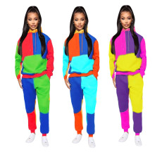 Fashion patchwork hooded casual sports suit