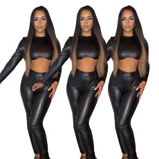 Two piece stretch leather pencil pants