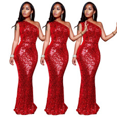 Sexy red fashion Sequin cut out dress