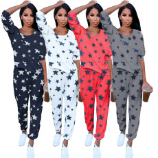 Fashion casual star print suit