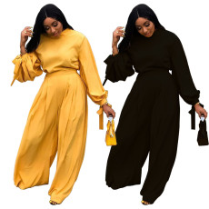 Casual bow sleeve two piece set