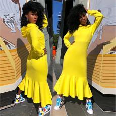 Hooded waist thickened fishtail dress