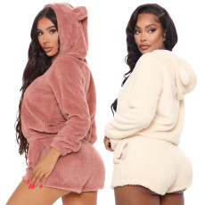 Hooded ears double faced Plush pocket casual sports suit