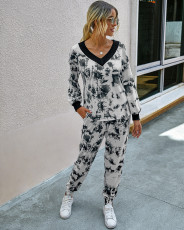 Fashion leopard V-Neck long sleeve casual suit