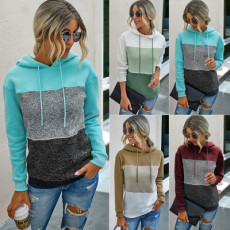 Patchwork color contrast hooded rope Pullover