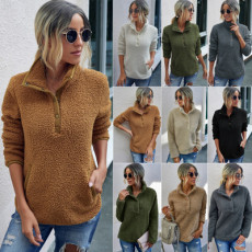 Solid color stand collar Plush Pullover