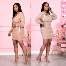 Waist zipper pile up sleeve dress