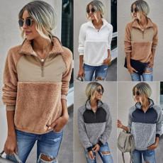 Stand collar women's Plush Pullover