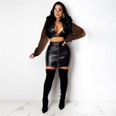 Sexy Long Sleeve Jacket zipper skirt 2-piece set