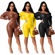 Fashionable casual sexy off shoulder zipper PU leather Jumpsuit