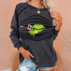 Printed solid color casual long sleeve top