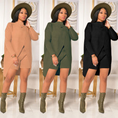 Two piece sweater with high round neck and shorts