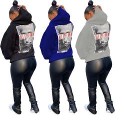 Printed Pullover crew neck Hoodie