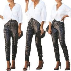 Elastic PU leather + elastic Sequin pants (single pants)