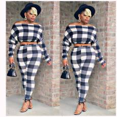 Off the shoulder Plaid casual two piece set