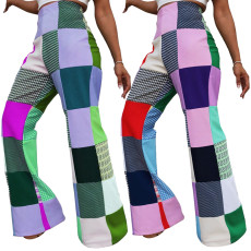 Digital print color check sexy casual pants
