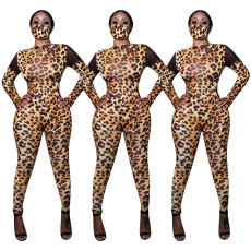 Leopard mesh splicing casual Jumpsuit (without mask)