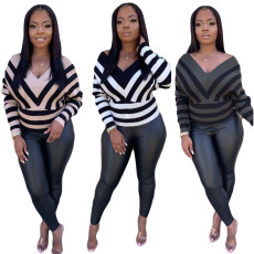 Casual Long Sleeve Striped Top