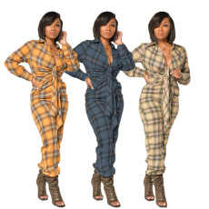 Tie dye check sexy loose Jumpsuit