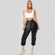 Fashion casual pants PU leather pants with belt