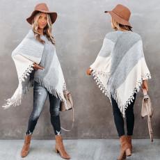 Fashion gradient V-neck loose fringe stitching sweater
