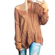 Fashion hollow lace up irregular long sleeve sweater