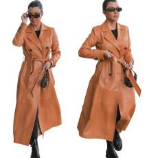 Fashion casual PU leather windbreaker suit collar coat