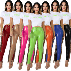 PU leather pants with suede and sequins