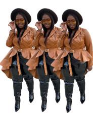 Fashion irregular tuxedo PU leather jacket