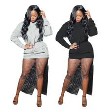 Casual fake two piece silver dot mesh pocket dress