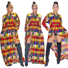 Printed long sleeve coat floor dress