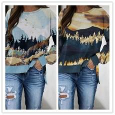 Fashionable landscape print crew neck