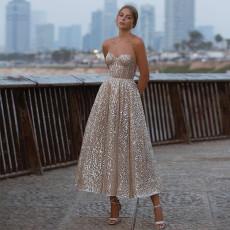 Sexy deep V bra dress