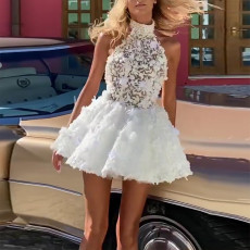 Open back solid lace mid waist white skirt