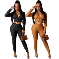 Fashionable flocked leather 2-piece set