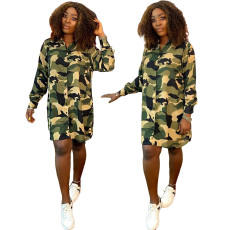 Fashionable loose camouflage long shirt