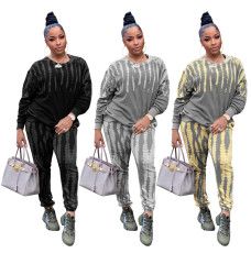 Fashion casual tie dye Pullover crew neck suit