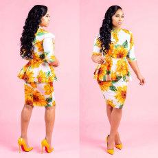 Cape sunflower print dress
