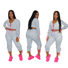 Fashionable two piece lace up set