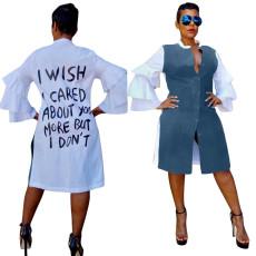 Letter printed Ruffle sleeve fashion dress