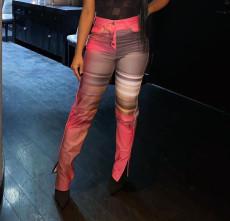 Printed slit button pants