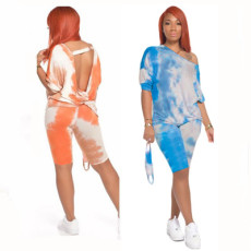 Open back V-neck tie dye printed short sleeve suit (without mask)